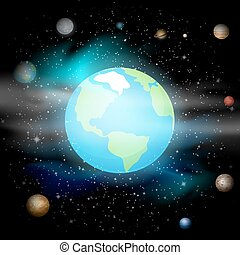 blauwe , tien, universe., ruimte, system., eps, tegen, planeet, achtergrond., vector, illustratie, zonne, aarde