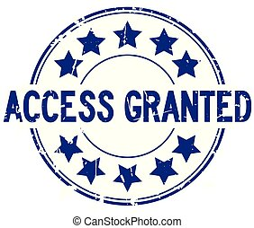 blauwe , toegang, grunge, postzegel, granted, rubber, achtergrond, zeehondje, ster, witte , ronde, pictogram