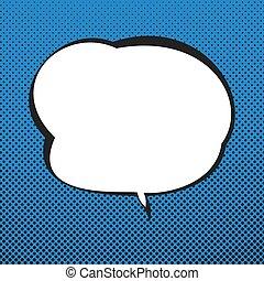 blauwe , toespraak, retro, achtergrond, bel