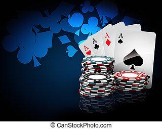 blauwe , toneelstuk, casino, illustratie, achtergrond, ...