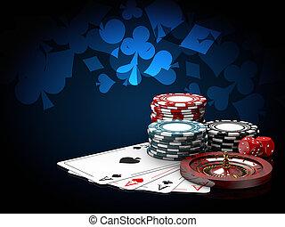 blauwe , toneelstuk, roulette, dice., casino, illustratie, ...