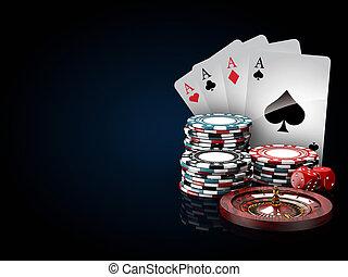 blauwe , toneelstuk, roulette, dice., casino, illustratie,...