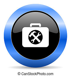 blauwe , toolkit, glanzend, pictogram
