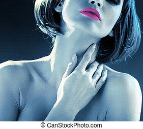 blauwe toon, sensueel, dame, afbeelding