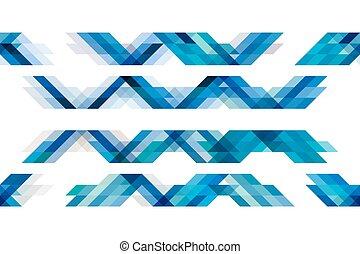 blauwe toon, vrijstaand, achtergrond, witte , driehoeken