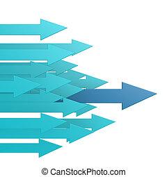 blauwe , toonaangevend, richtingwijzer