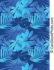 blauwe , tropische , bladeren, herhalen, patt