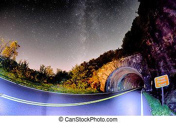 blauwe tunnel, c, rotsachtig, pinnacle, kam, noorden,...