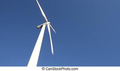 blauwe , turbine, hemel, wind