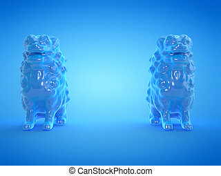 blauwe , twee, standbeelden, leeuw