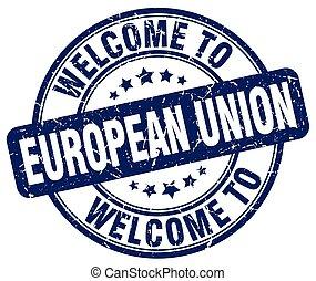 blauwe , unie, ouderwetse , welkom, postzegel, ronde, europeaan