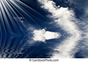 blauwe , unusually, sunbeams, boven, ocean.