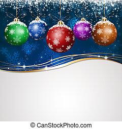 blauwe , vakantie, kerstmis, begroetende kaart