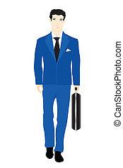 blauwe , valise, mannen, illustratie, beurt, kostuum