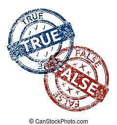 blauwe , vals, postzegel, ouderwetse , rubber, grunge, waar, ronde, rood