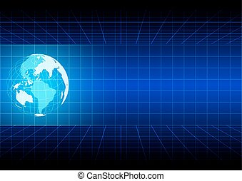 blauwe , vector., abstract, illustratie, rooster achtergrond, globe, design.