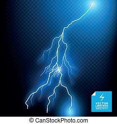 blauwe , vector, bout, lightning