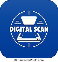 blauwe , vector, digitale , pictogram, scanderen