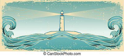 blauwe , vector, grunge, lighthous, zeezicht, beeld, textuur, papier, horizon., oud