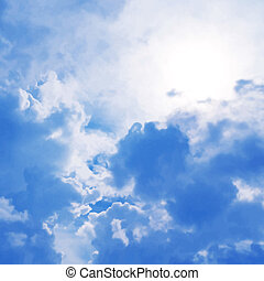 blauwe , vector, hemel, bewolkt, achtergrond