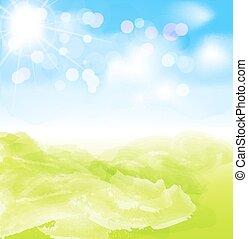 blauwe , vector, hemel, zon, achtergrond