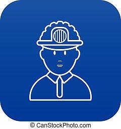 blauwe , vector, mijnwerker, pictogram