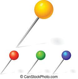 blauwe , vector, set, kleuren, gele, spelden, rood