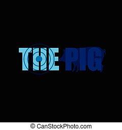 blauwe , vector, silhouette, varken