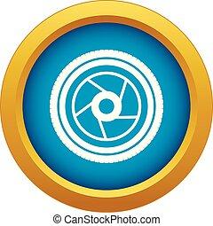 blauwe , vector, vrijstaand, fototoestel, opening, pictogram