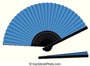 blauwe , ventilator, open, gesloten, hand