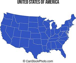 blauwe , verenigd, usa, map., staten, vector., amerika