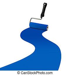 blauwe verf, streep, rol