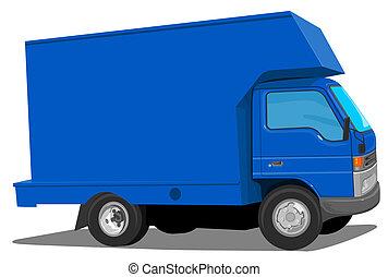blauwe , verhuizers, vrachtwagen
