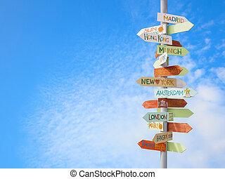 blauwe , verkeer, reizen, hemel, meldingsbord