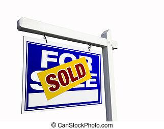 blauwe , verkocht onroerende goederen, verkoop teken, white.