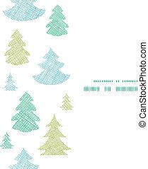blauwe , verticaal, model, frame, seamless, bomen, textiel, silhouettes, groene achtergrond, kerstmis