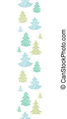 blauwe , verticaal, model, seamless, bomen, textiel, silhouettes, groene achtergrond, kerstmis