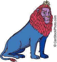 blauwe , vervelend, ets, zittende , kroon, leeuw, prinsessenkroon