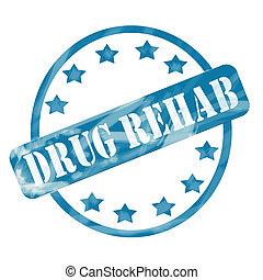 blauwe , verweerd, medicijn, rehab, postzegel, cirkel, en, sterretjes