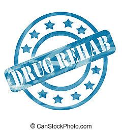 blauwe , verweerd, medicijn, rehab, postzegel, cirkels, en, sterretjes
