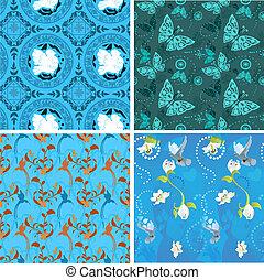 blauwe , verzameling, seamless, motieven