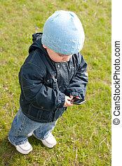blauwe , verzending, beweeglijk, op, sms, toddler