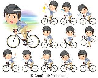 blauwe , vest, fiets, mannen, rijden, jas
