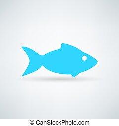 blauwe vis, witte achtergrond, pictogram