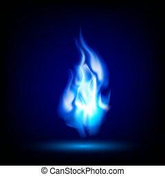 blauwe vlam, op, een, zwarte achtergrond