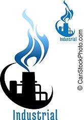 blauwe vlam, plant, industriebedrijven, gas