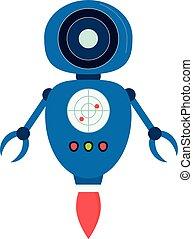 blauwe , vliegen, vector, robot, illustratie