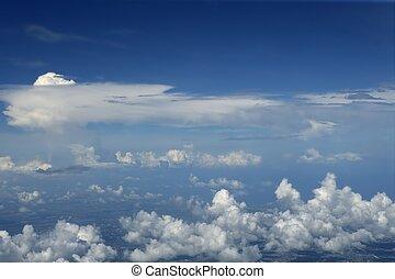 blauwe , vliegtuig, hemel, vliegtuig, aanzicht