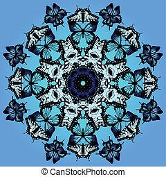 blauwe , vlinder, kaleidoscope