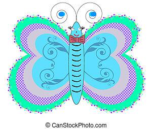 blauwe , vlinder, wit ba, vrijstaand